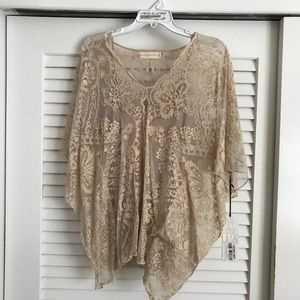Johnny Was poncho style lace blouse with cami
